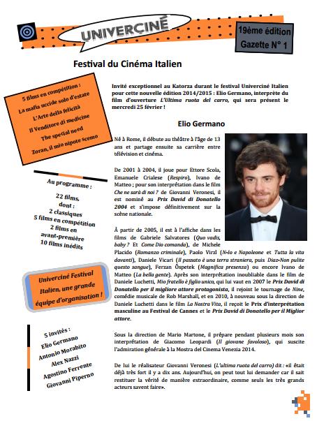 La gazette du festival, N°1 l'ouverture